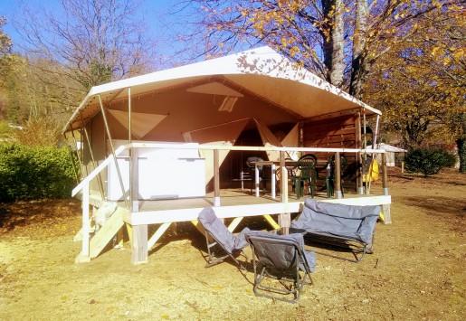 Photo des petits lodges du camping au coeur de l'Ardèche